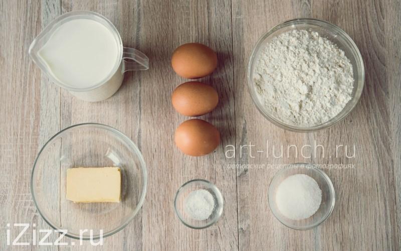 Тонкие блины на молоке - Игредиенты